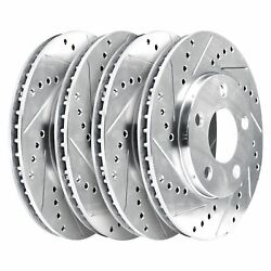 [2 Front + 2 Rear] 4 Platinum Hart Drilled And Slotted Disc Brake Rotors - 1744