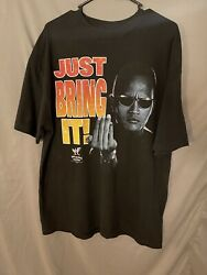 Vintage Y2k The Rock Wwf Just Bring It Black Alstyle T Shirt Size Xl Andlsquo00 Rare
