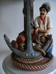 Apsit Brothers Of California Sailor Nautical Table Lamp 1987 Hand-painted Signed