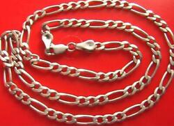 Old Real Solid Sterling Silver 925 Figaro Link Chain Men's Necklace 20.8