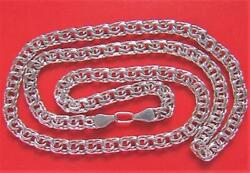 Old Real Solid Sterling Silver 925 Bismarck Chain Men's Necklace 24.61 Grams 22
