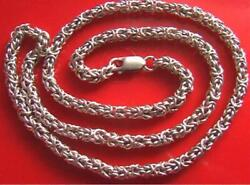 Old Real Solid Sterling Silver 925 Sample Grid Men's Necklace Chain 18.9 Signed