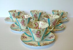 Set Of 6 Antique 1874-1912 English China W.l.l. Rose Cups And Saucers