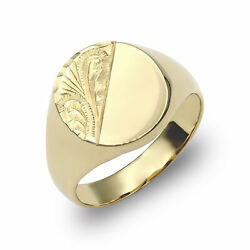 Jewelco London Mens Solid 9ct Yellow Gold Diamond Cut Oval Signet Ring