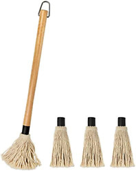 Bbq Basting Mop Brush Grill Basting Mop Wooden Long Handle 18 Inch With 3 Extra