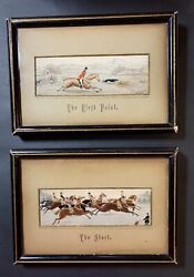 """Fox Hunt Scenes Stevengraph Silk Woven Lot Of 2 - """"the Start""""and""""the First Point"""""""