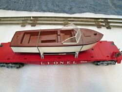 Nice Original Old Lionel Flat Car 6801 With Brown Boat And Original Box