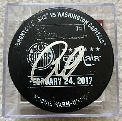 L@@k Connor Mcdavid Signed 2017 Oilers/capitals Game Used Warmup Puck- Jsa Coa