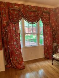 Pair Of Floral Curtains On Red Ground With Separate Jabots And Swags 106 Length