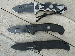 Usmc Marines Pocket Knives Spring Assisted ... New In Box ... Lot Of 3 ... 6