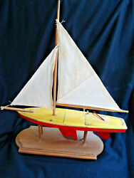 Oss -1930s Pre-wwii Pond Boat Toy -wooden Deck, Metal Keel And Rudder, Canvas