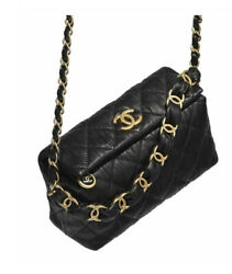 Authentic CHANEL w RECEIPT 2021 Lambskin black gold Chain Small hobo Bag $5199.00
