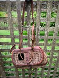 Vintage Fly Fishing Creel Basket W/ Leather Straps Wicker And Leather 1950s/1960sandnbsp