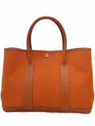 Hermes Garden Party 36 Toile Officier Andtimes Buffle Tote Bag T044