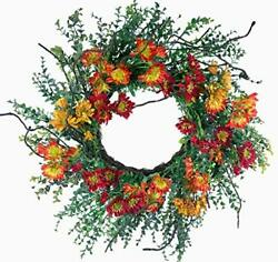 Artificial 24inch Spring Daisy Wreath Front Door Wreath With Farmhouse Red