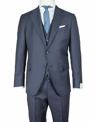 Caruso Suit With Vest In Dark Blue From Connoisseur Superfine 130's Wool
