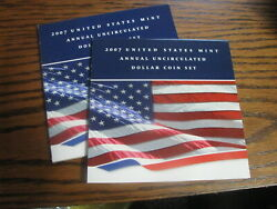 2007 U. S. Mint Annual Uncirculated Dollar Coin Set W/ Silver Eagle  Lot Pm 5