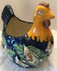 Vintage Dos Manos Terra Cotta Pottery Chicken Rooster Planter Calla Lily 11 T