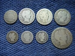 6 Us Silver Barber Coins 1906 S Half Dollar + 1901 And 1913 D Quarters + 3 Dimes
