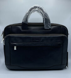 Hartmann Aviator Expandable Shoulder Bag-briefcase Black Leather New With Tags