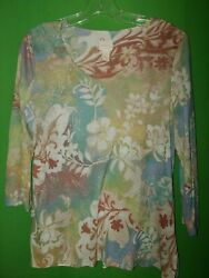 2918 Chico's 1 Pullover Jersey Knit Top Floral Blue Green