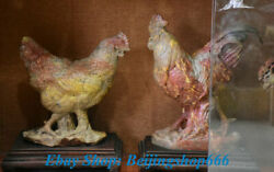 17 Chinese Natural Shoushan Stone Animal Zodiac Year Rooster Cock Sculpture Set