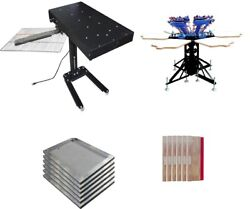 New 6 Color 6 Station Printing Screen Press And Flash Dryer Package Printing Kit