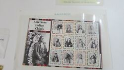 Mystic Stamp Co. Camden Ny Great American Indian Chiefs 12 Mint Stamps Set