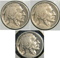 1913 Pds Type 1 Date Set Buffalo Nickels, Grades Good-vg. Nice First Year Coins