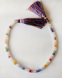 45cts Natural Multi Sapphire 3.75-4.25mm Faceted Wheels 8 Beads 1 Strand