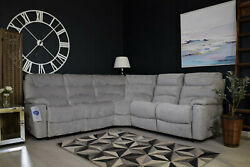 Staten Cornergroup Sofa And Chair Manual Recliner Set - And039waterford Silverand039