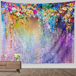 Large tapestry wall hanging watercolor Abstract Colorful Floral Wall Tapestry x