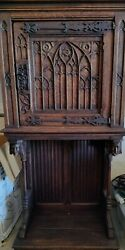 Carved French Gothic Cabinet 19th Century Oak