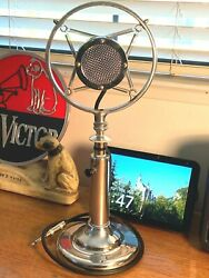 Rare Vintage 1940and039s-50and039s Astatic Chromed Ring Spring Microphone - Working