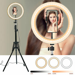 12 Led Ring Light With Tripod Stand And Phone Holder Dimmable Desk Ringlight Kit.