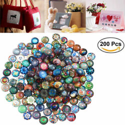 200pcs 12mm Mixed Round Mosaic Tiles Crafts Glass Supplies For Jewelry Making