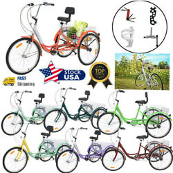 Adults Seniors Tricycle 7 Speed Trike 26inch 3-wheel Bike With Basket And Backrest