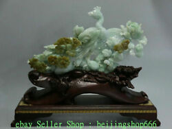 15 China Natural Emerald Green Jade Jadeite Carving Peacock Flower Sculpture Ds