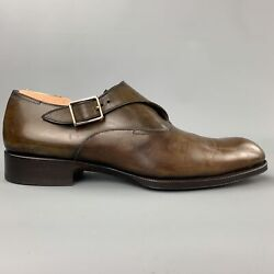 Tom Ford Edgar Size 10 Brown Antique Leather Monk Strap Loafers