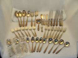 Repousse By S. Kirk And Son Sterling Silver Flatware Stieff 44 Pieces 1788 Grams