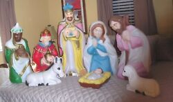 Vtg Christmas Blow Mold Nativity Scene General Foam 8 Pieces Blow Mold Only