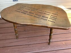 Vintage Solid Wood Cribbage Board Table Bench Adj-removeable Legs