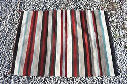 Native American Navajo Rug Woven Wool Striped Red Blue Brown Indian