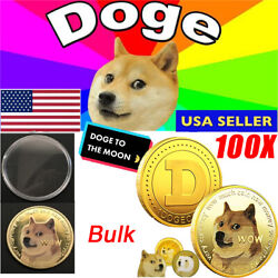100x Dogecoin Coin Commemorative Collector Doge Coins Gold Plated Coin Wholesale