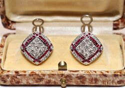 Perfect Vintage Artdeco Style 18k Gold Natural Diamond And Caliber Ruby Earring