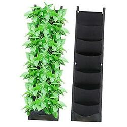 Vertical Hanging Wall Planters Indoor Updated Leather 7 Pockets Waterproof