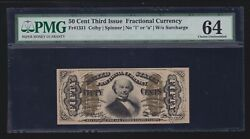 Us 50c Fractional Currency Note Green Back Fr 1331 Pmg 64 V Ch Cu