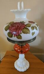 Vintage Fenton Gone With The Wind Lamp Cranberry And Milk Glass Hand Painted Shade