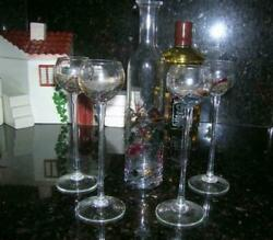 Vintage 5pc Romanian 24k Stained Glass Decanter + Liquor Cordial Crystal Glasses