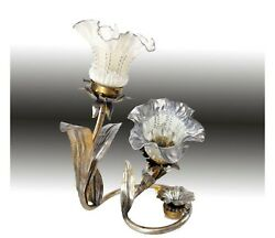 Gorgeous Double Tulip Boudoir Brass Lamp With Ruffle Shade